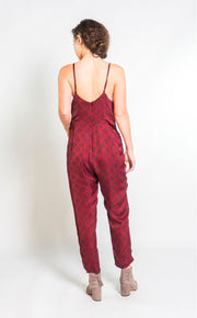 Silky Strappy Jumpsuit in Berry & Black Sketched Plaid