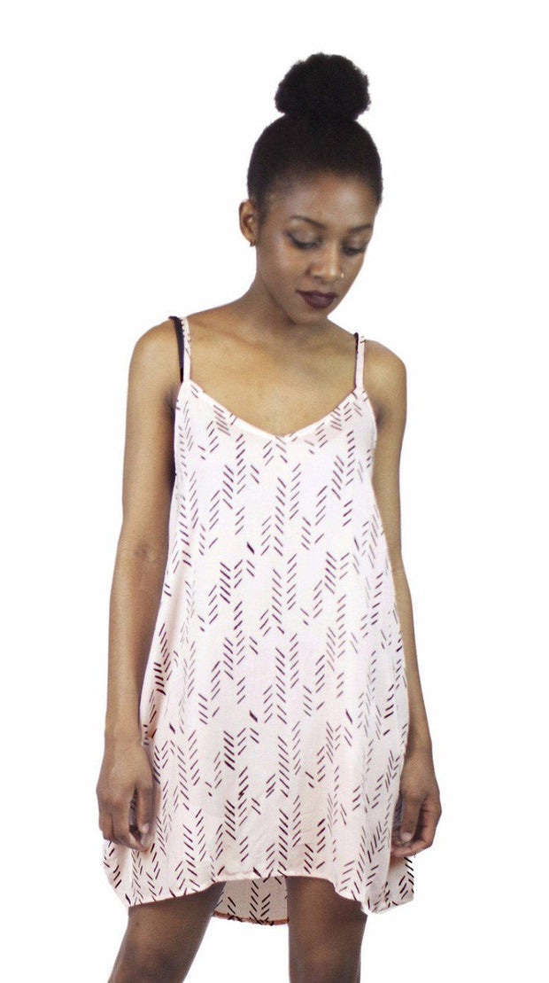 Stylized Feather Slip Dress in Ballet Pink & Black