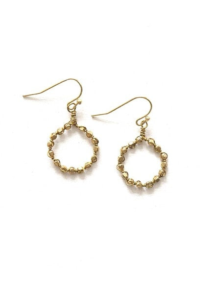 Little Beaded Loop Earrings - Brass