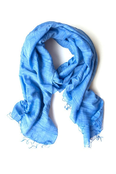 Minh Handwoven Scarf Cerulean Blue