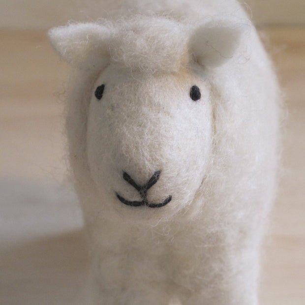 Hand Felted Small Sheep - White