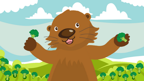 Potter the Otter holds broccoli in his hands. He stands against of background if clouds, blue sky, and a green valley.