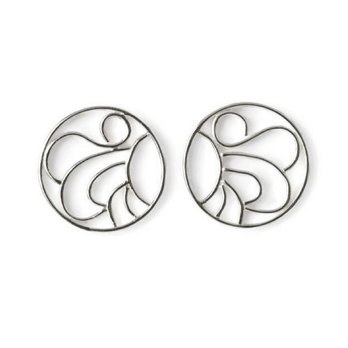 South William Sterling Silver Filigree Button Earrings