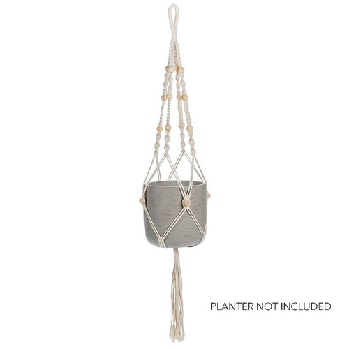 Macrame Planter Hanger with Tail & Beads