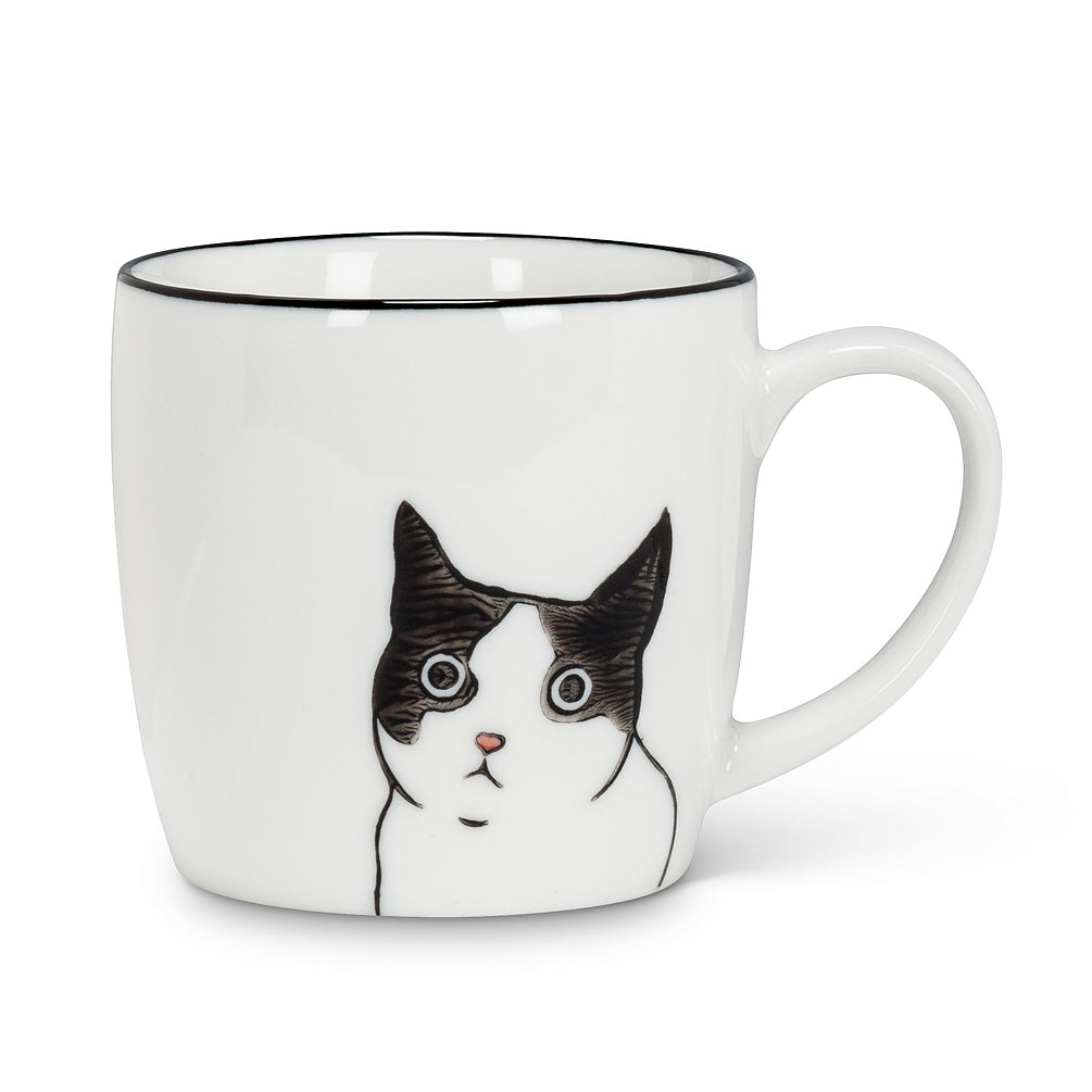 Peering Black & White Cat Ceramic Mug