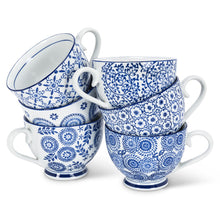 Classic Blue & White Ceramic Mug | Mini Pansy Flower Stamp Design