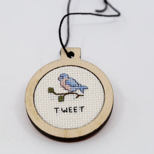 One-of-a-Kind Cross Stitch Design | Blue Bird | Tweet