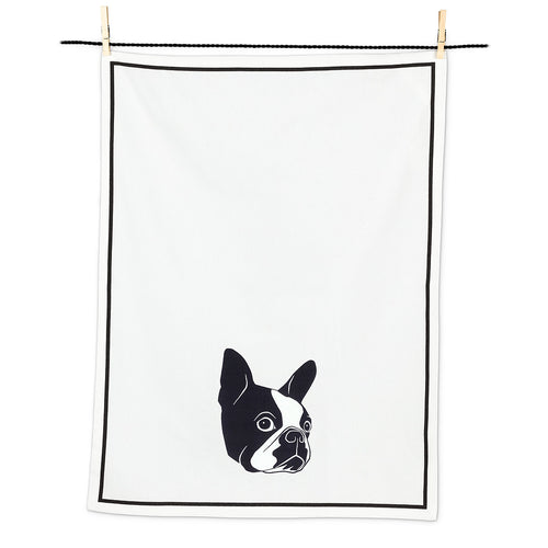 Black & White Frenchie Tea Towel