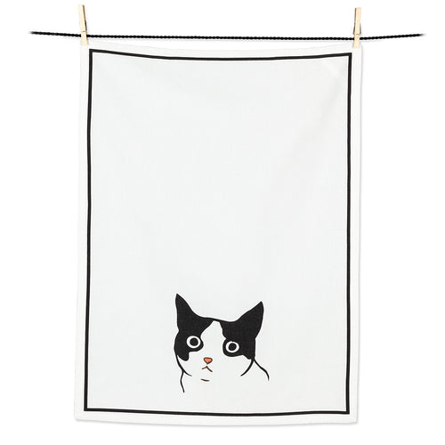 Black & White Peering Cat Tea Towel