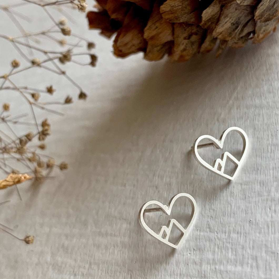 Silver Heart of the Mountains Stud Earrings