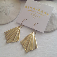 Brass Diamond Shaped Fan Drop Earrings