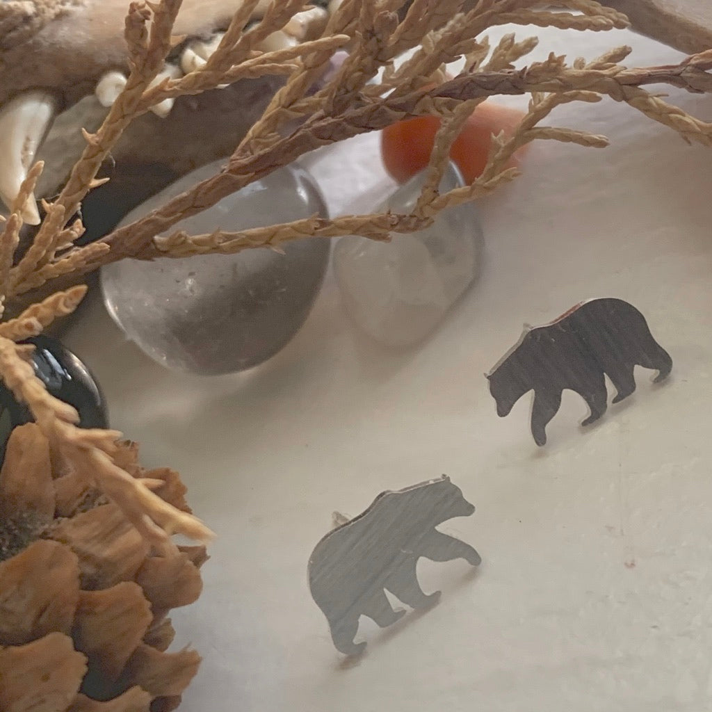 Silver Bear Stud Earrings