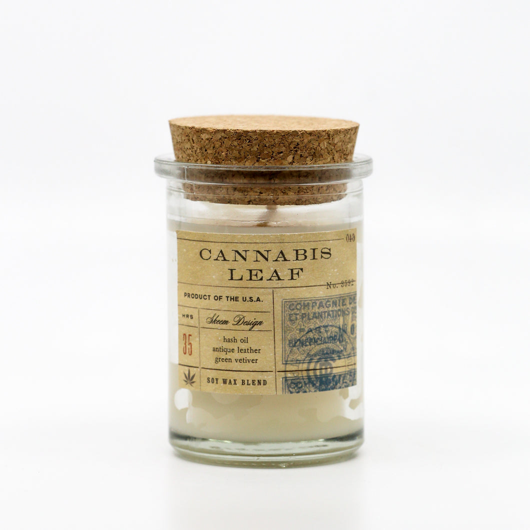 Field Jar Candle Cannabis Leaf