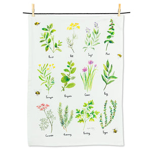 Garden Herbs Tea Towel