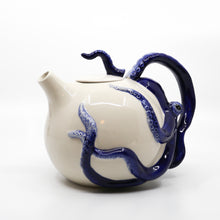 Hand Painted Blue Octopus Circular Stoneware Teapot