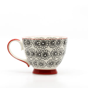 Hand Painted Ceramic Bowl Mug | Black Multi Floral