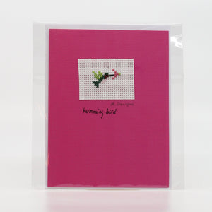 One-of-a-Kind Cross Stitch Card | Hummingbird