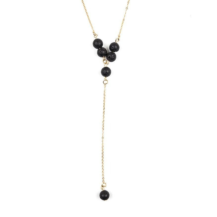 Lava Stone Iron Chain Necklace | Six-Bead