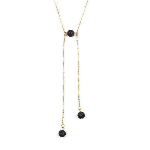 Lava Stone Iron Chain Asymmetrical Necklace