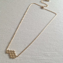 Gold Honey Comb Geometric Necklace