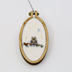 One-of-a-Kind Cross Stitch Design | Owl | Tall Oval Hoop