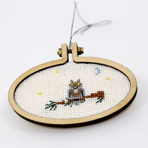 One-of-a-Kind Cross Stitch Design | Owl | Wide Oval Hoop