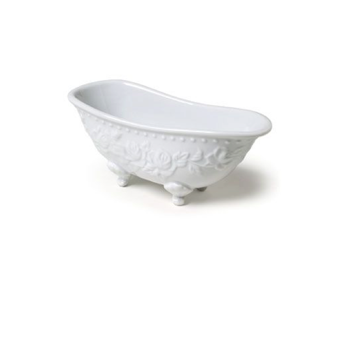 Embossed Footed Bathtub Soap Dish