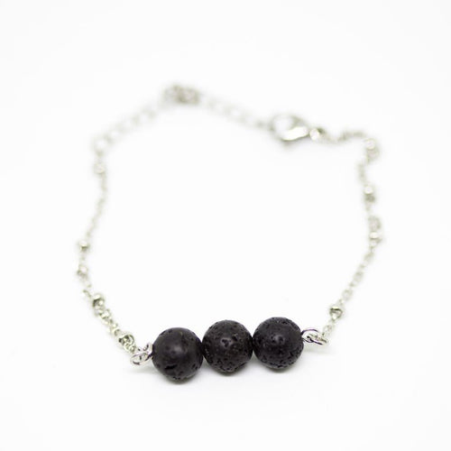 Lava Stone Stainless Steel Ball Chain Bracelet
