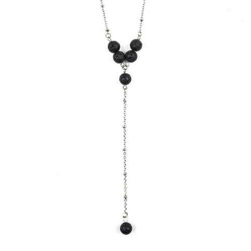 Lava Stone Stainless Steel Ball Chain Necklace | Six-Bead