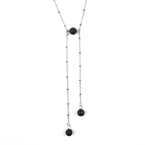 Lava Stone Stainless Steel Ball Chain Asymmetrical Necklace