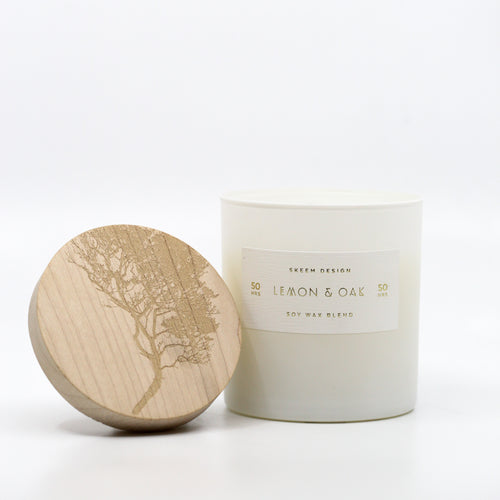 Wood Block Candle in Ceramic Tumbler- Lemon & Oak