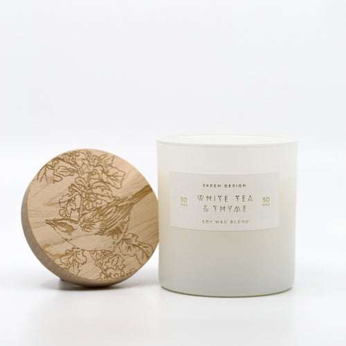 Wood Block Candle in Ceramic Tumbler- White Tea & Thyme
