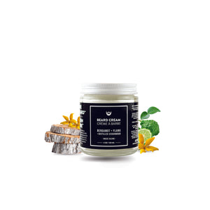 Always Bearded Beard Cream: Bergamot + Ylang Ylang in Clear Glass Jar with White Lid + Black Label