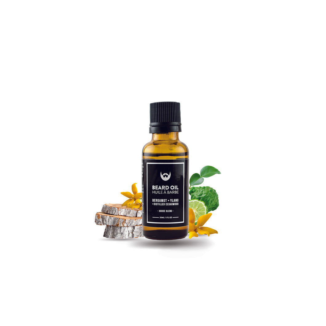 Always Bearded Beard Oil: Bergamot + Ylang Ylang in Amber Glass Bottle with Black Orifice Dispense + Label