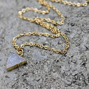 Gold & Druzy Stone Triangle Necklace