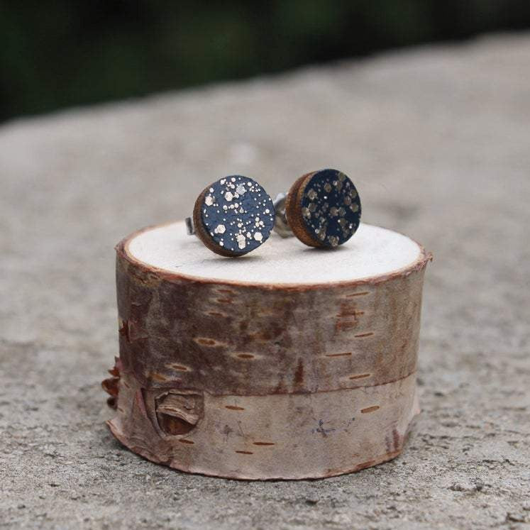 Wood Circle Earrings | Navy Sparkle Studs