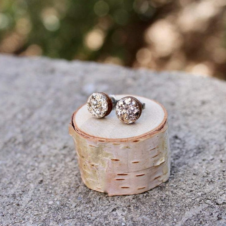 Wood Circle Earrings | Silver Sparkle Studs
