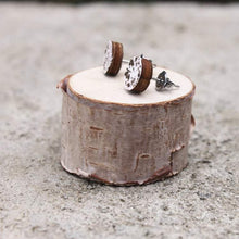 Wood Circle Earrings | Gold and White Sparkle