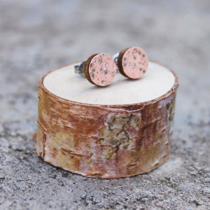Wood Circle Earrings | Sunset Pink & Gold Sparkle Studs