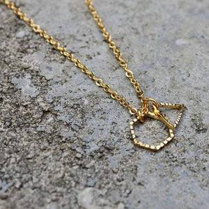 Gold Triangle Hexagon Necklace