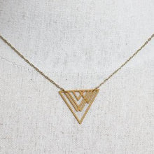 Gold Art Deco Mountain Triangle Necklace
