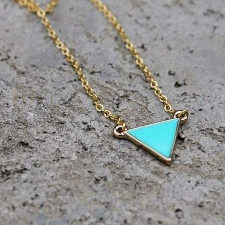 Gold Turquoise Stone Triangle Necklace