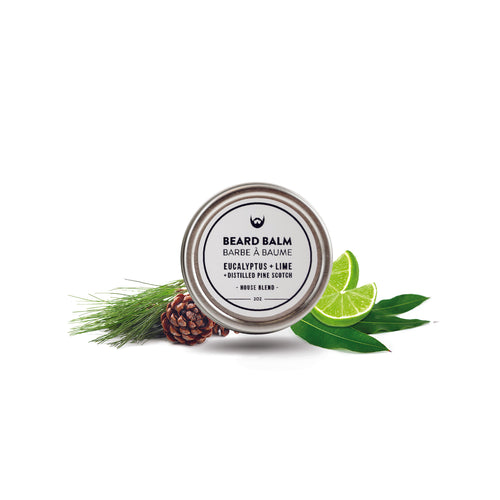 Always Bearded Beard Balm: Eucalyptus + Lime with Distilled Scotch Pine in 2oz Tin with White Label