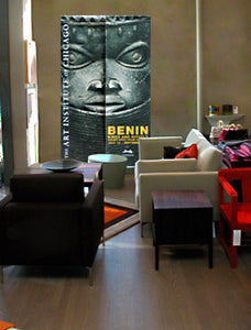 large wall art featuring Benin oba head from Nigeria