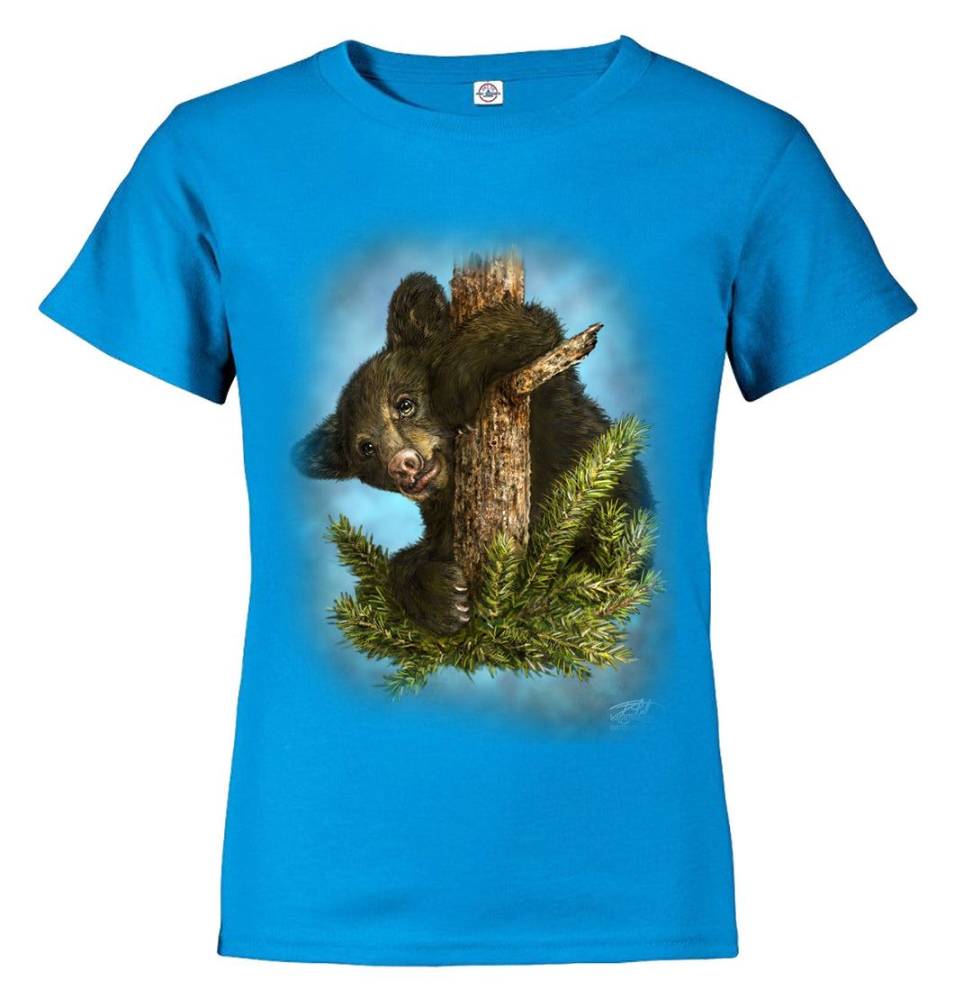 Baby Gruff design by Patrick Lamontagne of baby bear cub up an evergreen tree on turquoise child t-shirt