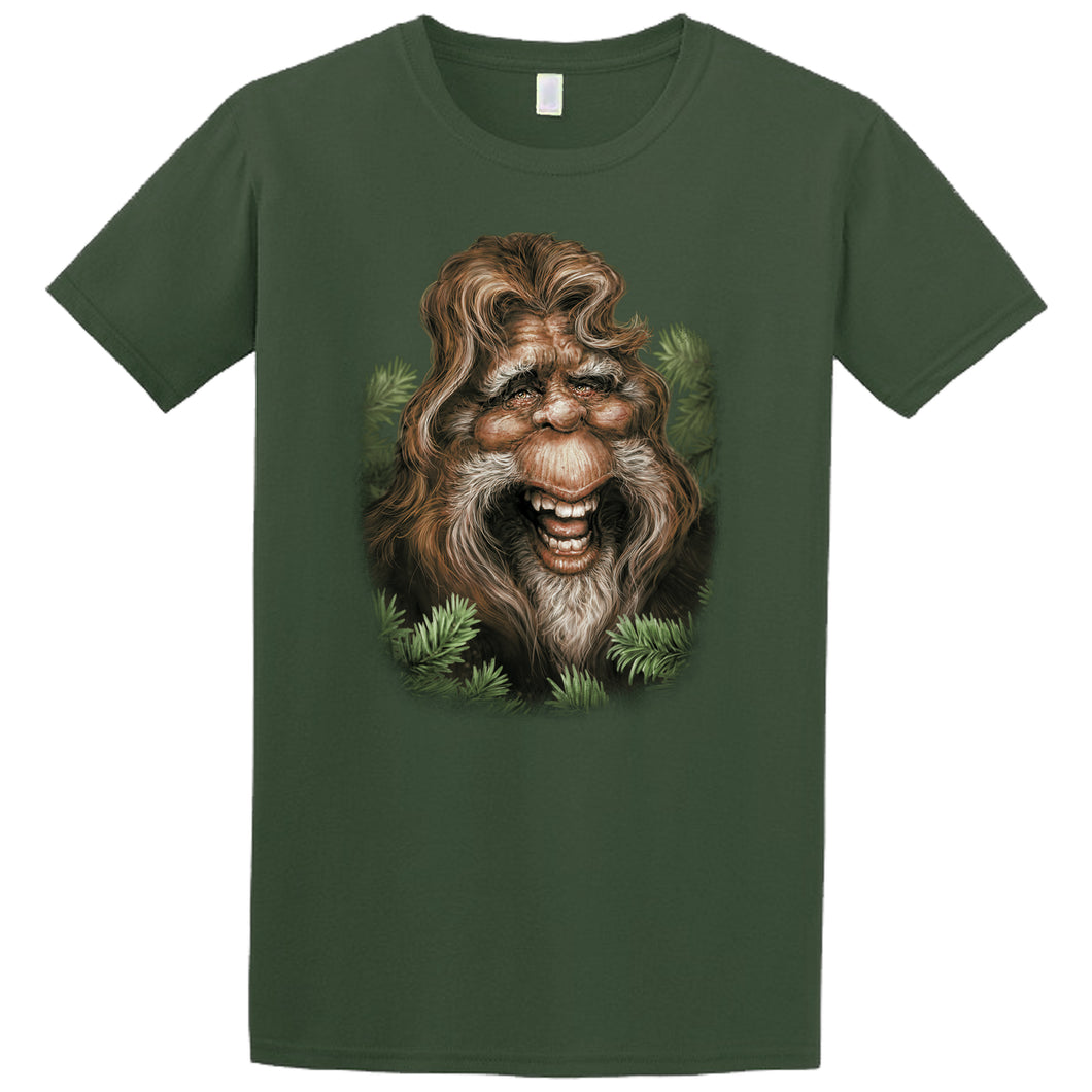 Bigfoot Bob T-shirt- military green t-shirt printed with image of friendly Sasquatch by Canadian artist Patrick LaMontagne