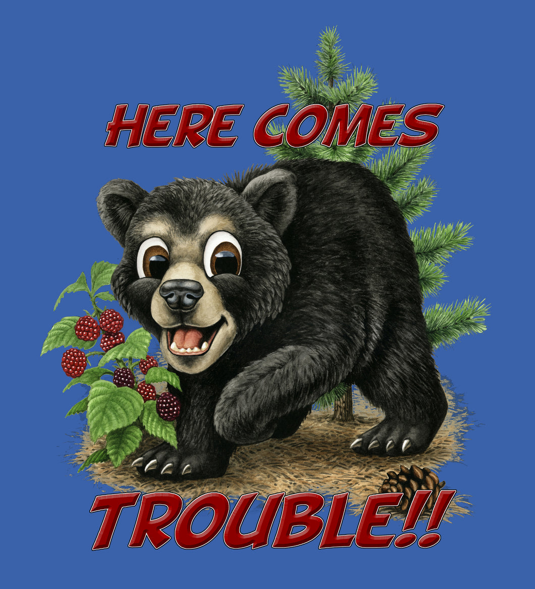 Bear Trouble - painting of a comical bear cub smiling