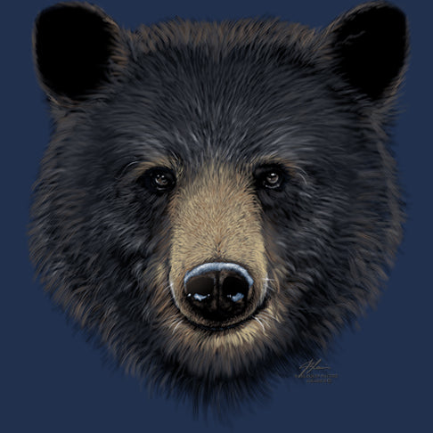 Big Head Black Bear by Eric Blais - painting of the face of a large black bear