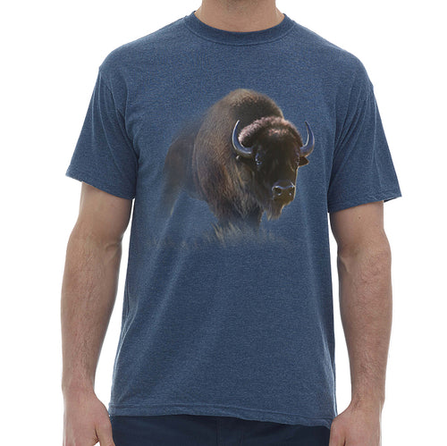 Bison T-shirt- navy heather t-shirt printed with bison art