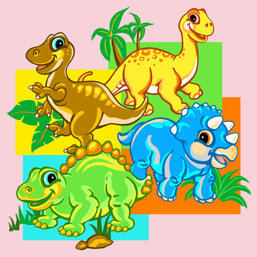 Dino Babes - painting of four cute baby dinosaurs